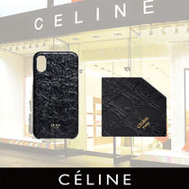 CELINE Iphone X and XS case in lambskin stamped crocodile