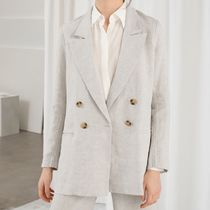 """& Other Stories"" Double Breasted Linen Blazer Beige"