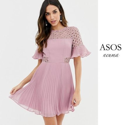 ASOS DESIGN lace insert pleated mini dress
