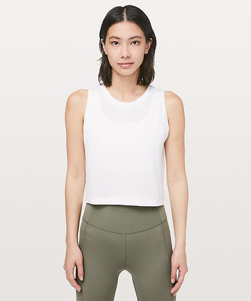 Breeze By Muscle Crop Tank  lululemon*ロゴ入り+クロップ*WHT