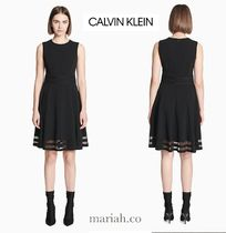 Calvin Klein illusion fit +flare dress★シースルーボーダー★