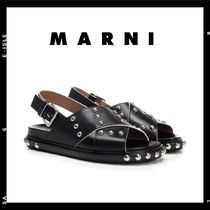 【MARNI】 Black Criss-cross sandal with studs