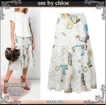 19SS☆送料込【see by chloe】 プリント オーガンザスカート