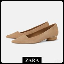 ★ZARA★ザラ  LEATHER FLAT SHOES WITH WOOD-EFFECT HEEL