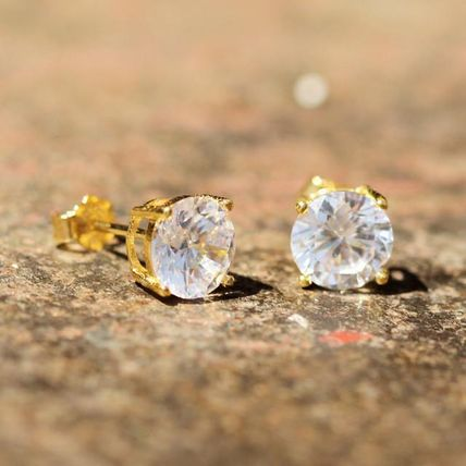 King Ice ネックレス・チョーカー King Ice Gold Clear Round Brilliant Sterling CZ 14G ピアス