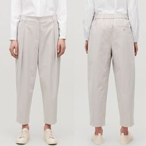 """COS"" PLEAT-FRONT CROPPED COTTON TROUSERS LIGHT TAUPE"
