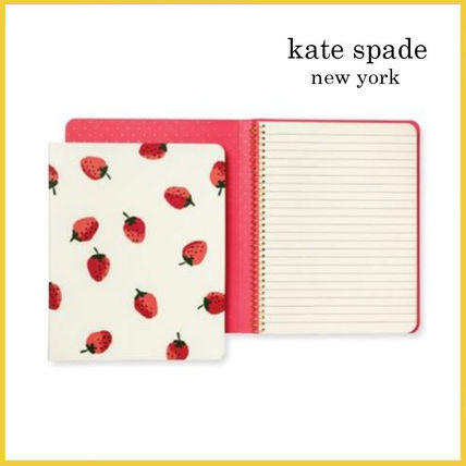 kate spade new york ノート 【Kate Spade】Strawberries Concealed Spiral Notebook イチゴ
