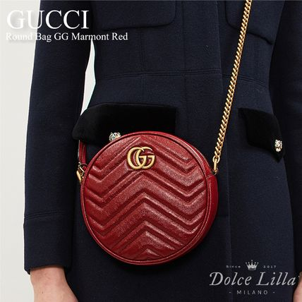 GUCCI  Round Bag GG Marmont Red