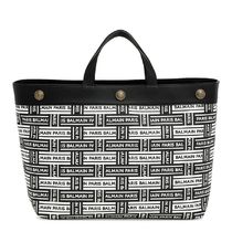 Black and white logo leather tote トートバッグ