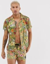 SikSilk coord short sleeve shirt in green floral print