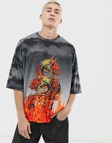 ASOS DESIGN oversized tshirt with dragon and fire print