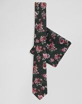 Twisted Tailor tie and pocket square set in in dark floral