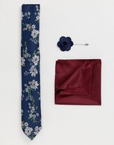 New Look tie with pocket square and lapel pink set in navy