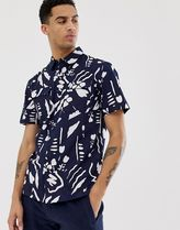 Bellfield abstract print cotton shirt in black