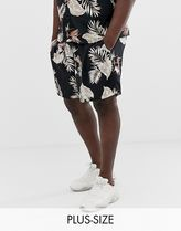 New Look Plus coord shorts with leaf print in black