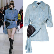 MM872 LOOK44 BOW EMBELLISHED DENIM MINI DRESS