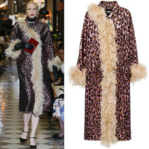 MM875 LOOK48 FEATHER TRIMMED WOOL LAME COAT