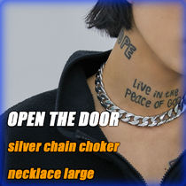 b95826986172 【OPEN THE DOOR】silver chain choker necklace-large/追跡付