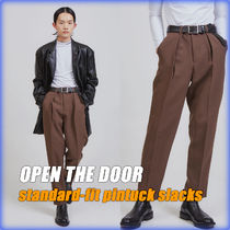 【OPEN THE DOOR】standard-fit pintuck slacks/追跡付