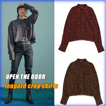 【OPEN THE DOOR】leopard crop shirts (3 color)/追跡付