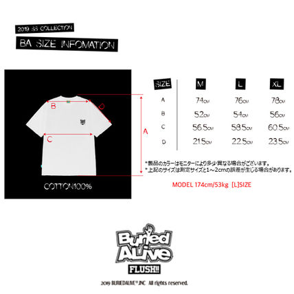 BURIED ALIVE Tシャツ・カットソー 韓国 [BURIEDALIVE] BA X FLUSH STAND-UPRIGHT T-SHIRT 全3色(17)
