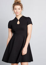 High Society Style Short Sleeve Dress in Black