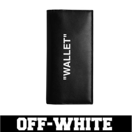 OFF-WHITE/長財布/BLACK LEATHER QUOTE WALLET/関税・送料込