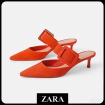★ZARA★ザラ  LEATHER HEELED MULES WITH MAXI BUCKLE DETAIL