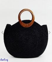 ★ASOS★ Accessorize summer straw bag in black 【送関税込】