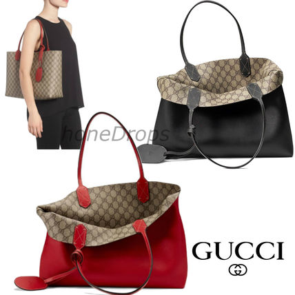 outlet store 70208 015d8 GUCCI★ ミディアム リバーシブル レザー トートバッグ 2色展開