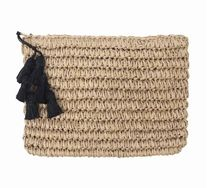 FALLON & ROYCE  Gigi Black Tassel Straw Clutch