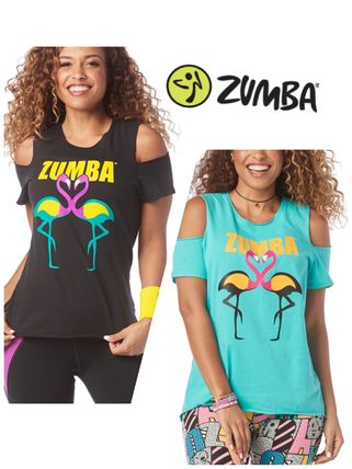 Zumba Happiness Cold Shoulder Tシャツ