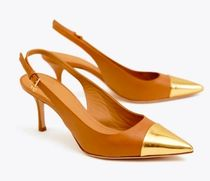 SALE★TORY BURCH ★PENELOPE METALLIC CAP-TOE SLINGBACK PUMP
