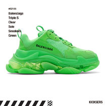 人気話題!Balenciaga Green Triple S Clear Sole Sneakers