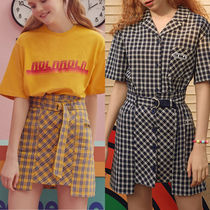 ★rolarola★スカート UNBALANCE BUTTON CHECK SKIRT【全2色】