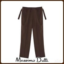 MassimoDutti♪CROPPED CREPE TROUSERS WITH BUCKLES