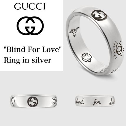 """【GUCCI】""""Blind For Love"""" ring in silver 5mm 日本完売サイズ"""