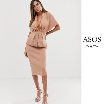 ASOS DESIGN structured plunge kimono midi dress