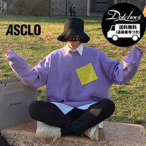 ((ASCLO)) Draw Color Combination Pocket Knit NR153