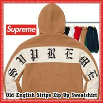 Supreme Old English Stripe Zip Up Sweatshirt SS 19 WEEK 5