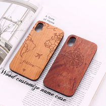 Galaxy / iPhone ▼ map&compass ◆NAME入り ウッド スマホcase