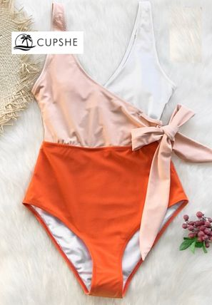 ORANGE AND WHITE BOWKNOT ONE-PIECE