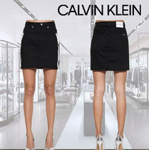 **CALVIN KLEIN JEANS**★W/ SIDE BANDSデニムミニスカート