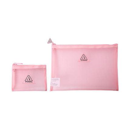 3CE PINK RUMOUR MESH POUCH/3CE コスメポーチ メッシュポーチ