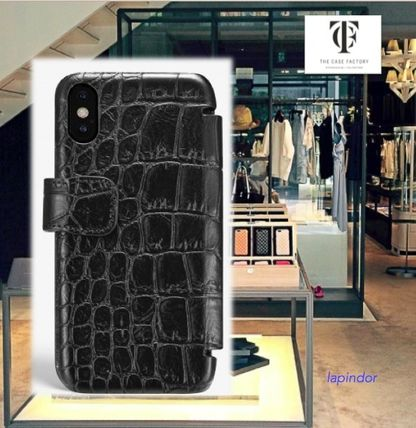THE CASE FACTORY スマホケース・テックアクセサリー THE CASE FACTORY★IPHONE XR CARD CASE CROCODILE BLACK