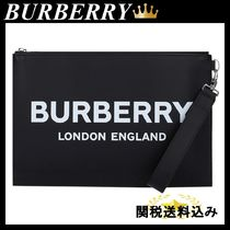 BURBERRY logo print smooth leather pouch