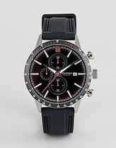 Sekonda chronograph leather watch in black