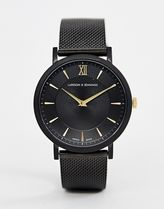 Larsson & Jennings Lugano Sloane mesh watch in black 40mm