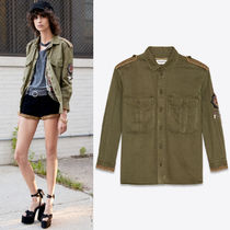 19SS WSL1456 GABARDINE OVERSHIRT WITH CHARMS & SL PATCH