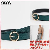 【ASOS】faux leather skinny belt in green